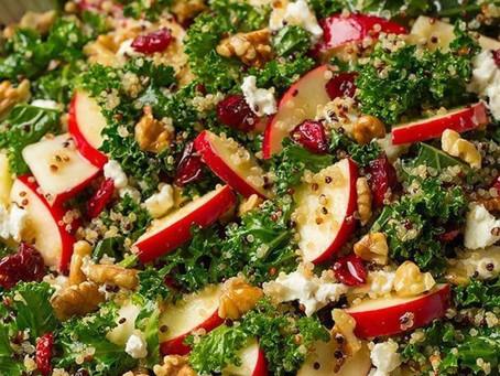 Harvest Kale Salad with Apple Cider Dijon Vinaigrette