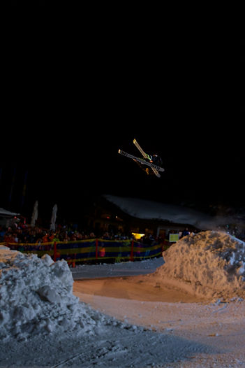 freestyle, jump, skiing, night, skievent, kicker, see, skigebiet see