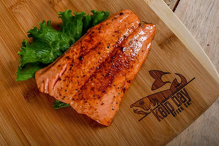 King salmon grilled on a cedar plank