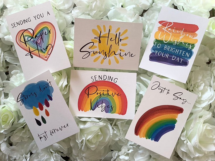 Pack of 6 (or 12) Rainbow Themed Postcard Postcards, Thinking of You