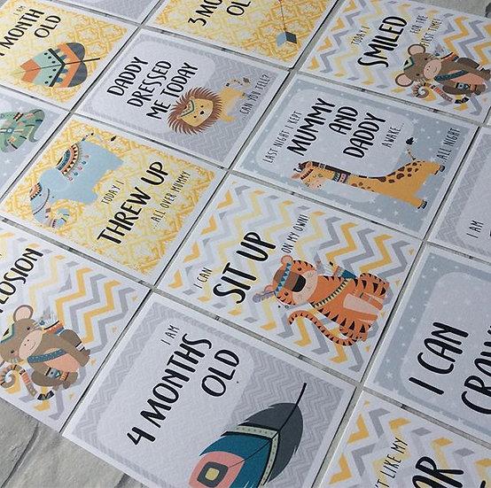 Baby Milestone Journey Cards (Tribal Safari Animals)
