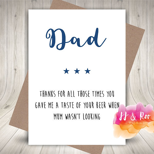 Funny Card for Dad: First Taste of Beer (Father's Day or Birthday)