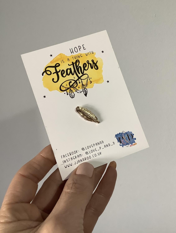Feather of Hope Pin Badge, Mental Health Awareness