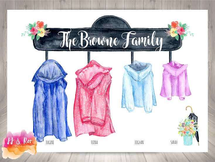 Personalised Family Print: Watercolour Raincoats (Unframed)