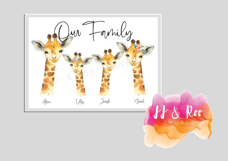 Personalised Giraffe Watercolour Family Print (Unframed)