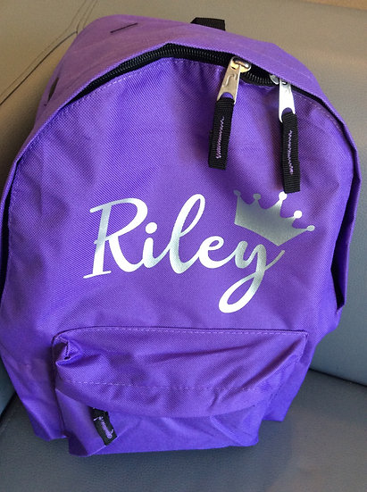 Personalised School Bag, Backpack, Rucksack (Name and Crown)
