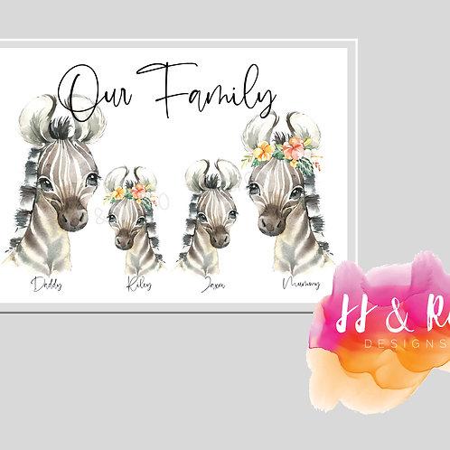 Personalised Zebra Watercolour Family Print (Unframed)