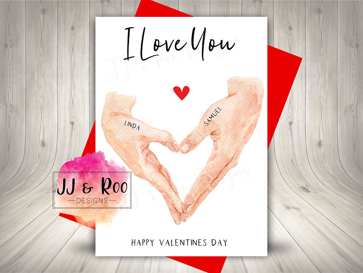 Personalised Valentines Card: Hands in Heart