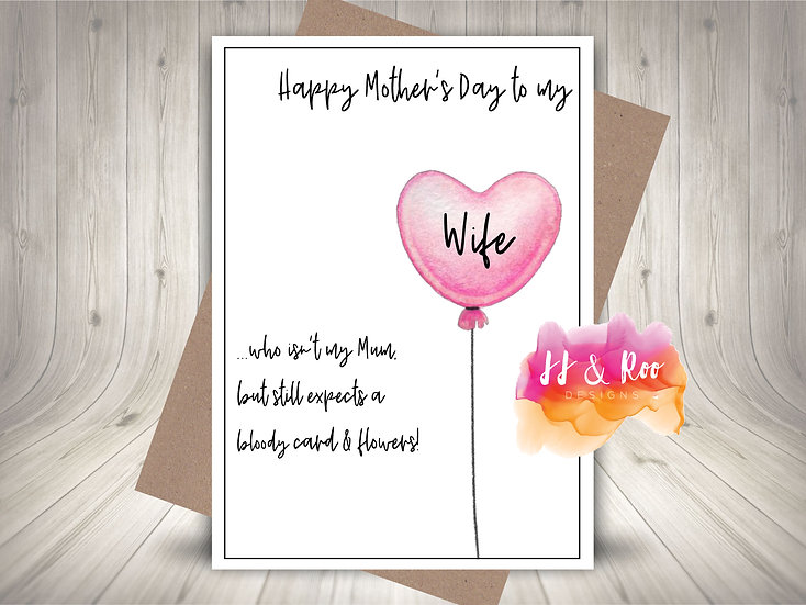 Funny Mother's Day Card To My Wife