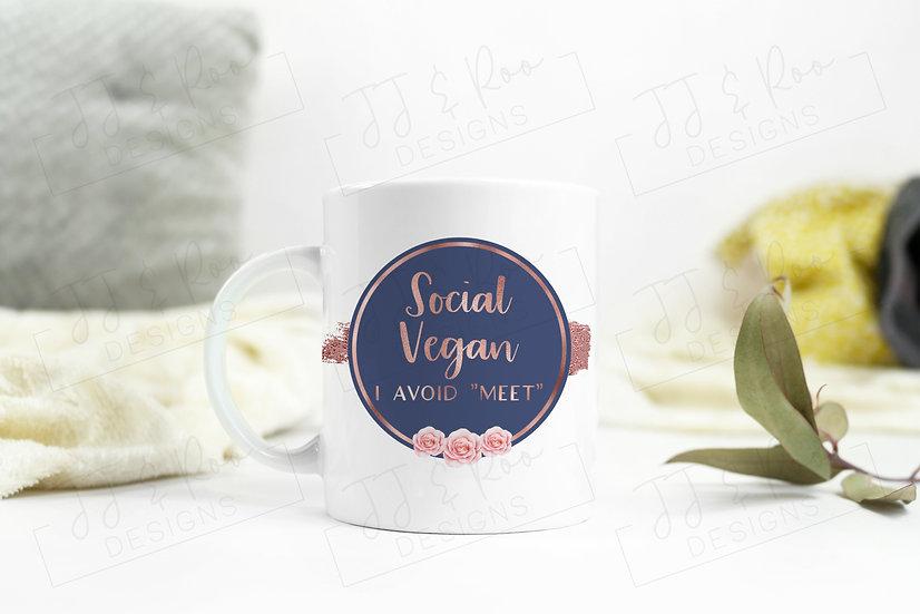 Funny Mug: Social Vegan (I Avoid Meet)