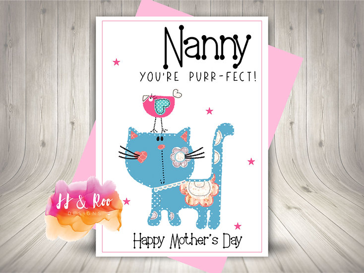 Personalised Cute Patchwork Cat Mother's Day Card for Mummy or Nanny