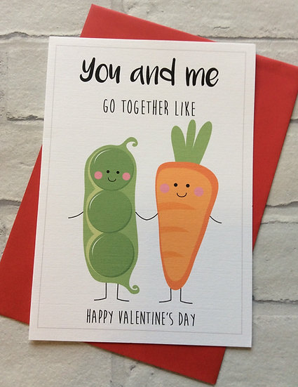 Cute Food Pun Valentines Day Card: Peas & Carrots Perfect Pair