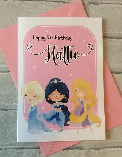 Personalised Fairytale Princesses Birthday Card
