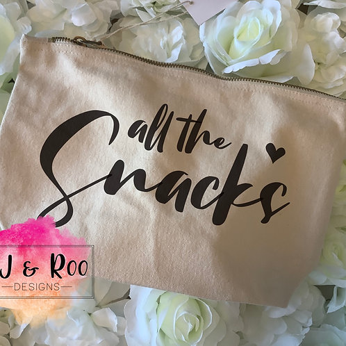 Large Canvas Zip Pouch, All the Snacks, Snack Bag, Family Day Out