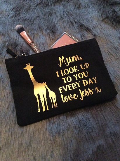 Personalised Giraffe Make Up Bag for Mum, Mothers Day Gift