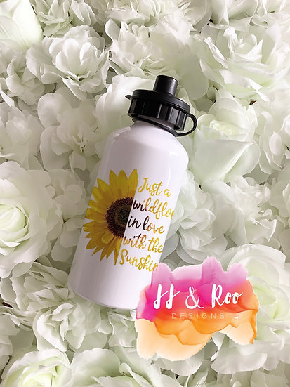 Personalised Metal 500ml Sunflower Quote Water/Drinks Bottle