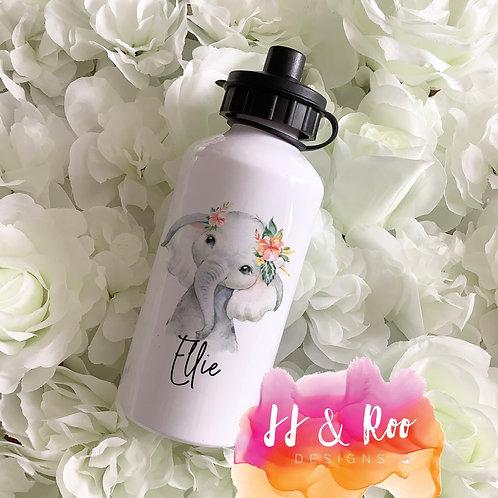 Personalised Metal 500ml Watercolour Safari Elephant Water/Drinks Bottle