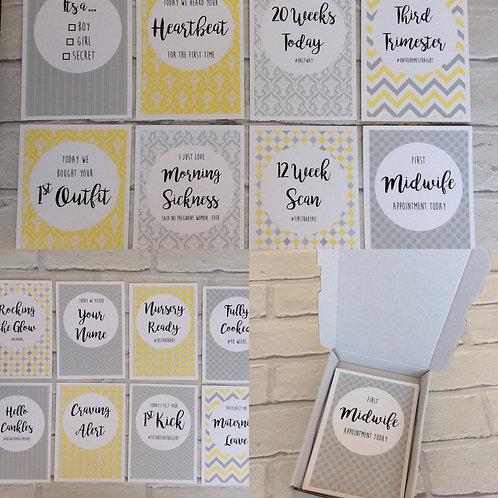 Unisex Pregnancy Milestone Journey Cards (Yellow & Grey)