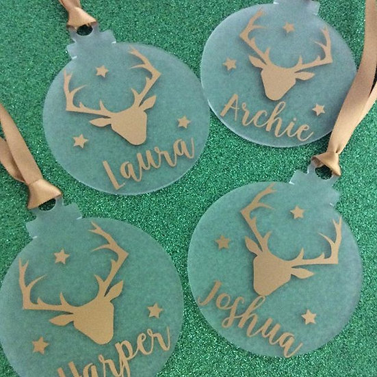 Personalised Family Hanging Christmas Tree Decoration (Flat Bauble)
