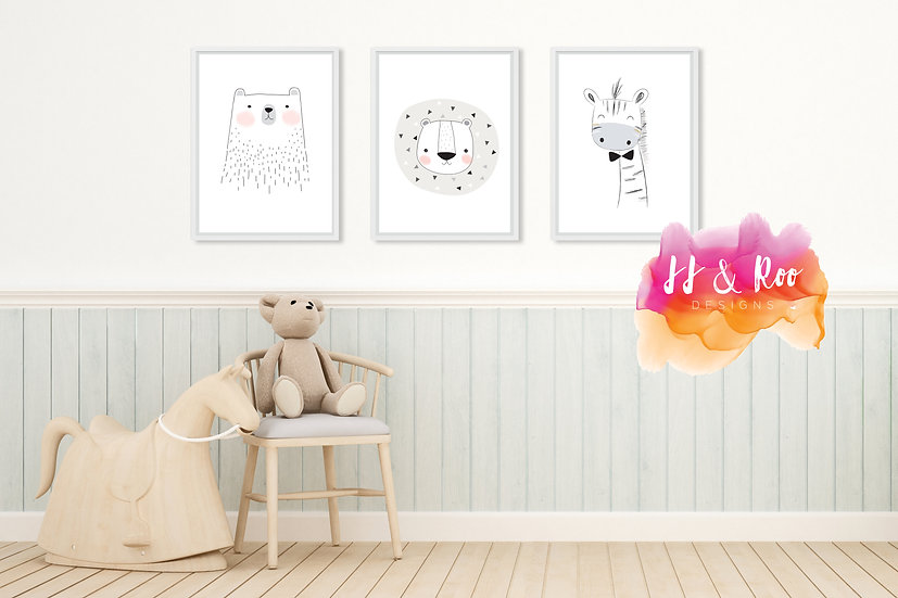 Set of 3 Scandi Jungle/Zoo Animal Themed Playroom/Nursery Prints (Unframed)