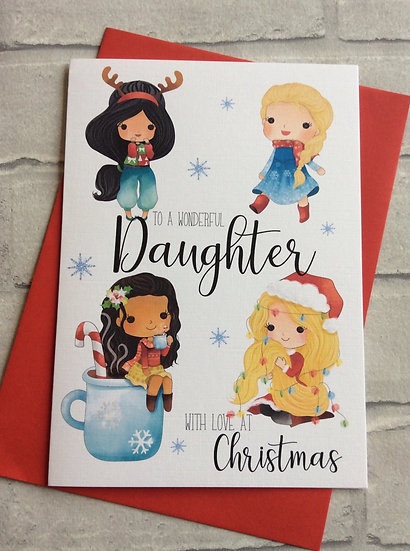 Personalised Princess Inspired Christmas Card: Daughter, Granddaughter