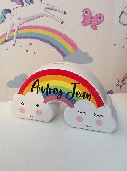 Personalised Child's Rainbow Clouds Money Box, Savings Bank