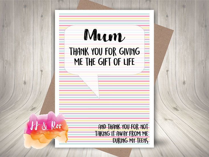 Funny Cheeky Mum Card: Thank You for Gift of Life