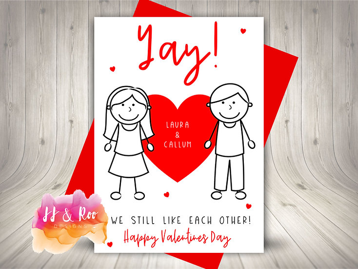 Personalised Cute Stick People Valentines Day Card: Yay! Still Like Each Other