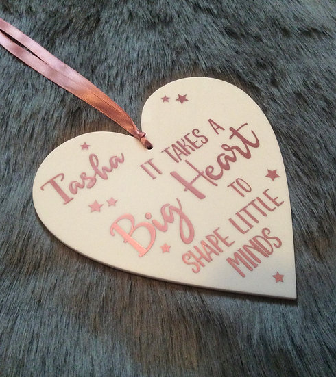 Personalised Acrylic Hanging Heart, Childminder, Teacher or Nursery Gift