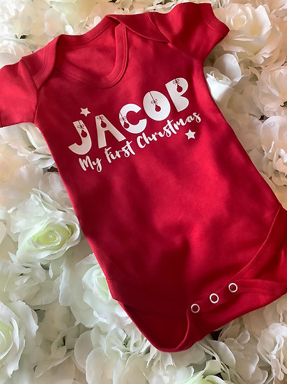 Baby's First Christmas Red or White Short Sleeved Vest