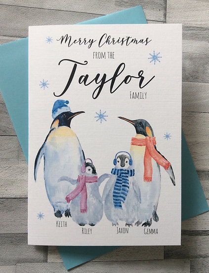 Personalised Penguin Family Christmas Cards - Multipack