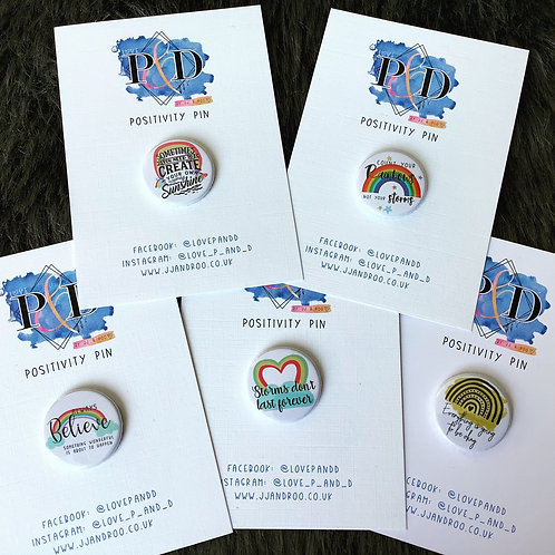 Mini Positivity Rainbow Pin Badge (Choose Design)