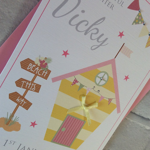 Personalised Birthday Card: Beach Hut (Daughter, Sister, Niece, Friend)