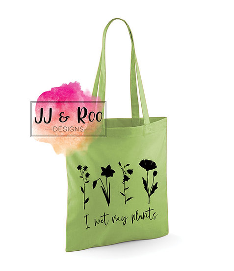 """Funny """"I Wet My Plants"""" Reusable Cotton Tote Bag"""