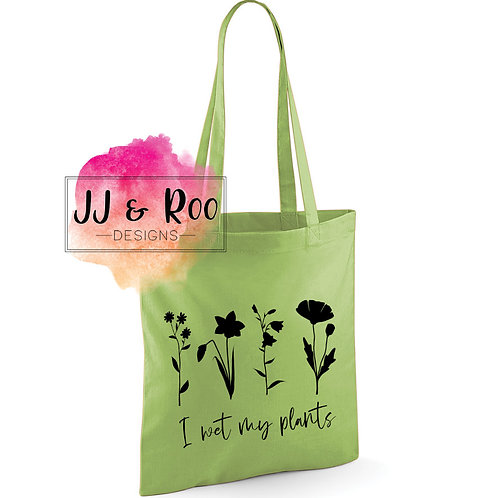 "Funny ""I Wet My Plants"" Reusable Cotton Tote Bag"