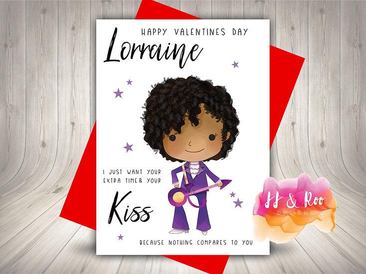 Personalised Funny Valentines Card: Prince Inspired (Kiss Lyrics)