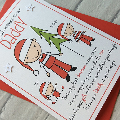 Personalised Stick Family Christmas Card for Daddy/Dad