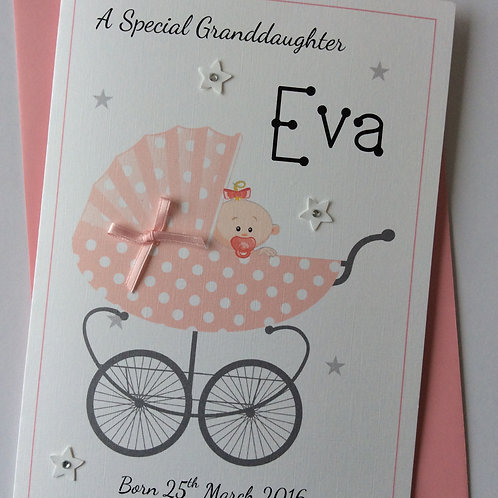 Personalised New Baby in Pram Card (Congratulations)