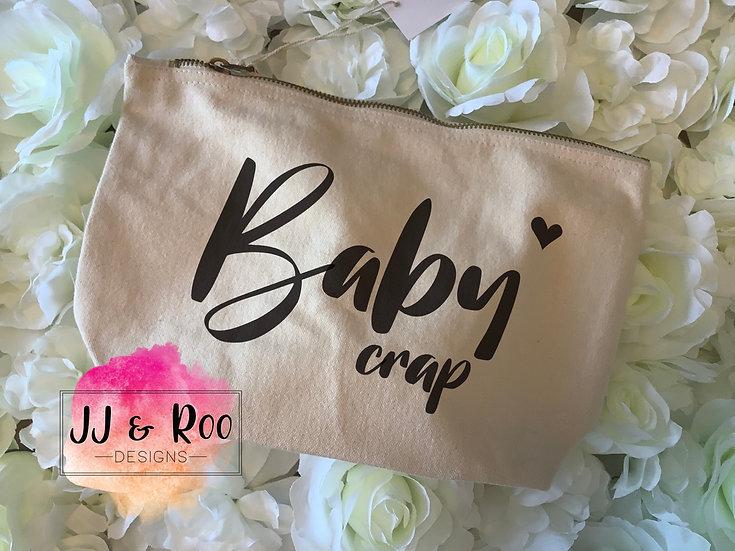Canvas Accessory Zip Pouch/Bag: Baby Crap/Mama Crap/Mama Stuff/Random Crap