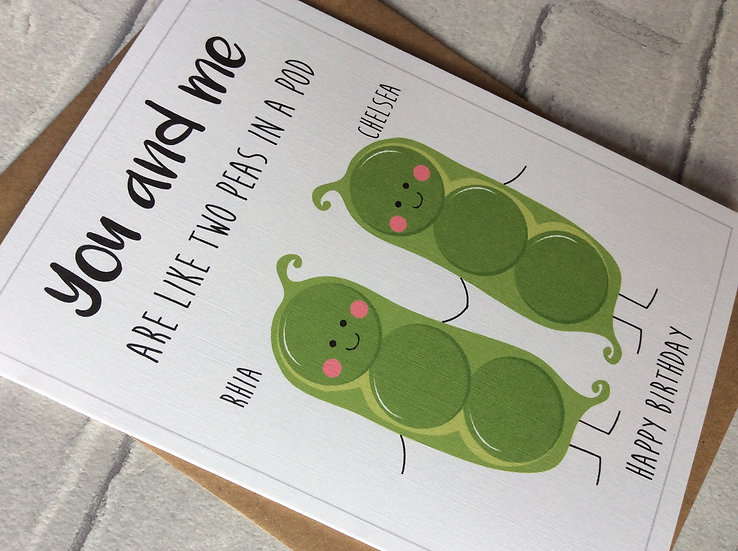 """Personalised """"Peas in a Pod"""" Birthday Card"""
