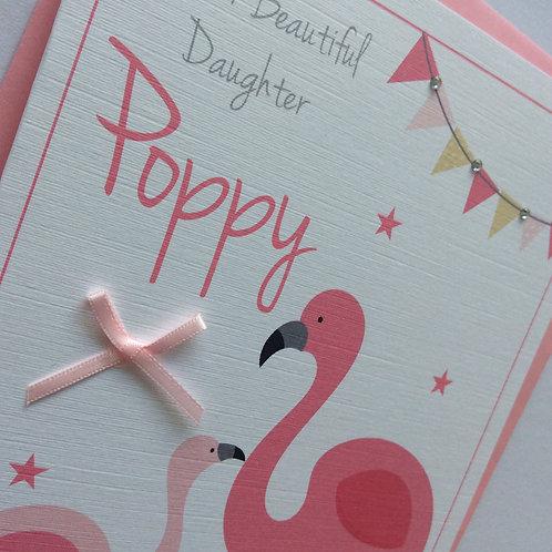 Personalised Flamingo Birthday Card: Daughter Sister Granddaughter