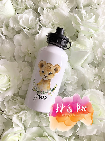 Personalised Metal 500ml Watercolour Safari Lion Cub Water/Drinks Bottle