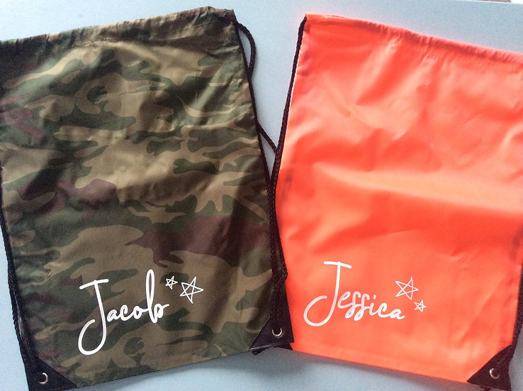 Personalised School PE Bag, Kit Bag, Swim Bag, Shoe Bag