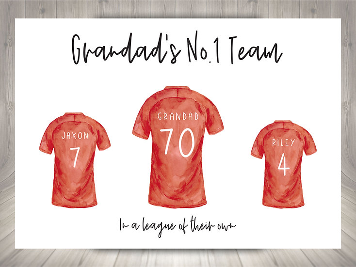 Personalised Football Shirts Family Print (Unframed)