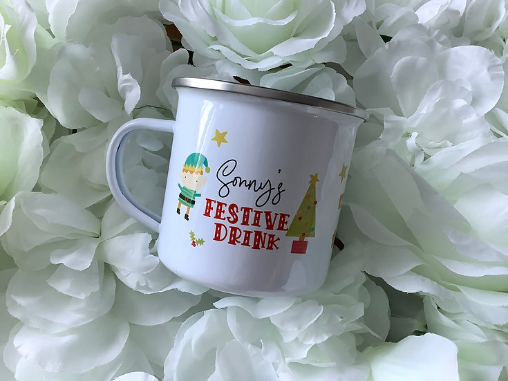 Personalised Children's Christmas Enamel Mug (Cute Santa & Elf Design)