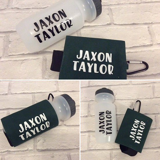 Personalised School Water Bottle and Holder