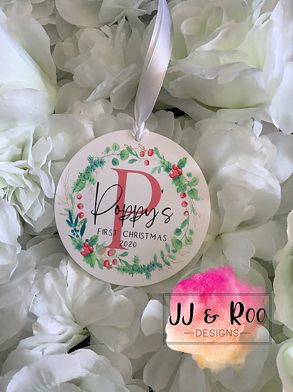 Personalised Baby's First Christmas Decoration: Traditional Holly Wreath