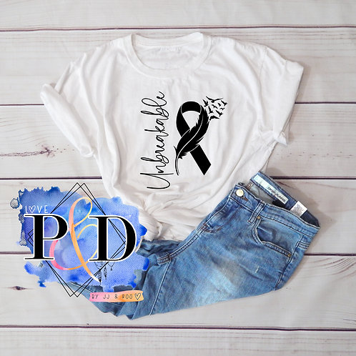 """Unbreakable"" Cancer Awareness/Support Ribbon Slogan Unisex T-Shirt"