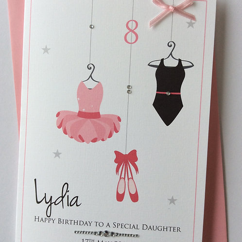 Personalised Ballet Tutu Dancing Outfits Birthday or Congratulations Card