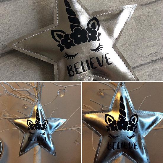 "Cute Unicorn ""Believe"" Silver Star Christmas Decoration"